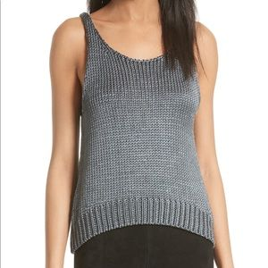 Vince Cable-knit Silk Grey Tank Top Size L $475